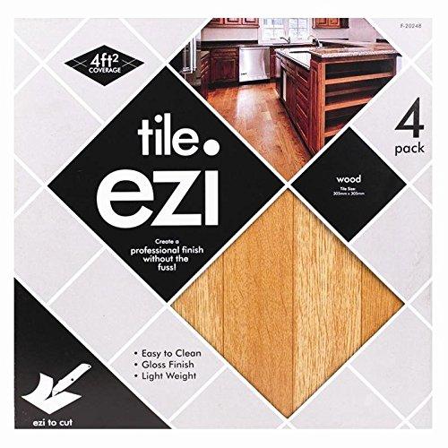 Boden Fliesen selbstklebend-Dunkles Holz Effekt-4Pack