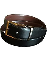 Perry Ellis Men's Reversible Leather Black Brown Dress Belt Chrome Buckle 38
