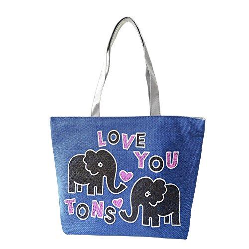 Hrph Love Elefante Borsa Di Tela Borsa Scuola Preppy Per Borse Da Donna, Borse Carine Blu