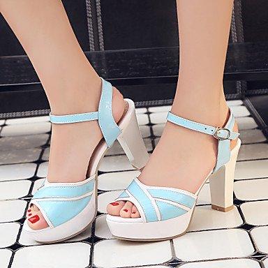 LvYuan Da donna Sandali Comoda Cinturino alla caviglia Vernice Estate Formale Comoda Cinturino alla caviglia Quadrato Bianco Nero Blu Rosa10 - Blue