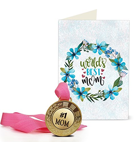 Tied Ribbons Paper Birthday Gift for Mother World's Best Mom Printed Greeting Card with Golden Medal (15 cm x 0 cm x 22 cm), Multicolour