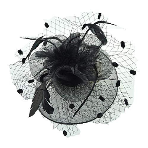 Flowing Water Frauen Blume Hochzeits-Party Haarclip Kopfbedeckungen Vintage Bow Feather Net und Veil Hat Bowler Caps