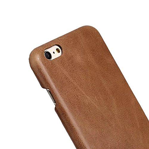 EKINHUI Case Cover Retro Frosted Style Premium Echtleder Rücken Abdeckung Fall für IPhone 6 Plus & 6s Plus ( Color : Gray ) Brown