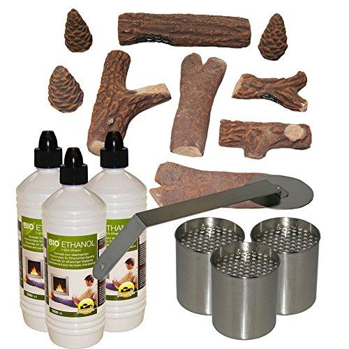 Keramik Holz Nachbildung + 3L Bioethanol + 3 Brenndosen + Feuerstopper für Gelkamin Tischkamin Bioethanol
