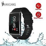 Hangang N68 Bunte LED-Bildschirm Smart Watch Bluetooth 4.0 Armband Gesundheit Herz Rater Blutdruckmessgerät Fitness Tracker (schwarz)