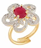 #5: Manikya Gold Plated American Diamond Finger Ring for Women
