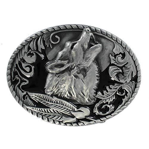 eeddoo® Gürtelschnalle - Heulender Wolf - Western - Biker Buckle (Buckle für Wechselgürtel für Damen und Herren | Belt Frauen Männer Oldschool Rockabilly Metall Biker Western Trucker Casino Skull)