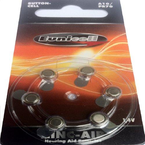 Preisvergleich Produktbild Hörgerätebatterien A10 A13 A312 A675 div. Größen (A10 / PR70,  5 Blistercards = 30 Batterien)
