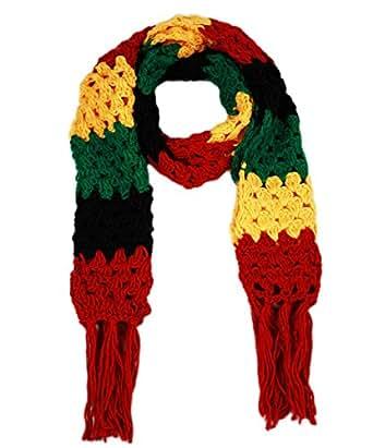 Crochet Rasta Scarf Rastafarian African in Red Black Green Yellow