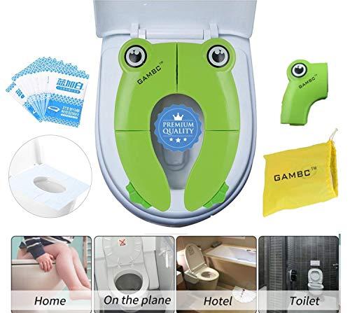 Riduttore adattatore wc per bambini portatile da viaggio - 2a generaz con gomme antiscivolo - pieghevole riutilizzabili sedile potty training apprendimento verde rana + 10 pz copriwater usa e getta