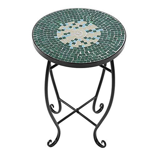 Cocoarm Runder Blumenhocker Mosaik-Beistelltisch Mosaiktisch Gartentisch für Balkon Garten Metall 52 × 35 × 35 cm