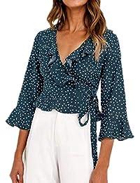 aaa9b5915 Mujer Camisas Cortos Elegantes Verano Lunares Mangas 3 4 V-Cuello Chiffon  Shirts Cómodo Fashion Clásico Casuales Beach Volantes…