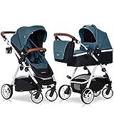 2in1 Kombi Kinderwagen OPTIMO Adriatic Babywanne Buggy Komplettset - Leder & Aluminium Tech