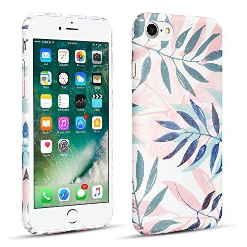 lle,iPhone 8 Hülle,Anti-Kratzen [Rosa Palme Blätter Marmor Design] [Floral Blumen Textur Muster] Schlank Dünn PC Hart Schützende Schutzhülle für iPhone 7/iPhone 8 - Rosa & Blau ()