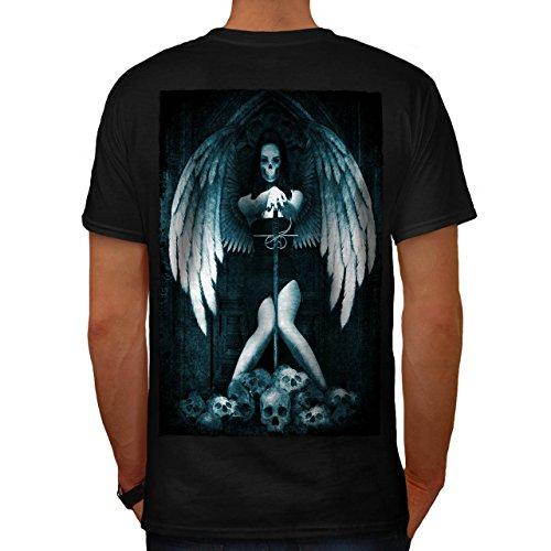 Engel Metall Tod Horror Schwert Mädchen Herren M T-shirt Zurück   (Tod Kinder Kostüme Krieger)
