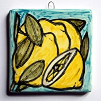 Lemons- Hand-decorated ceramic tile, size inch 3.9x3.9x0.3 inch,ready to be attached to the wall.Made in Italy Tuscany, Lucca. Created by Davide Pacini.