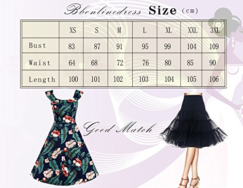 Bbonlinedress 50s Vintage Retro U-Ausschnitt Rockabilly Cocktail Party Kleider Navy Flower M - 5