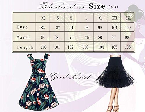 Bbonlinedress 50s Vintage Retro U-Ausschnitt Rockabilly Cocktail Party Kleider Navy Flower M - 5