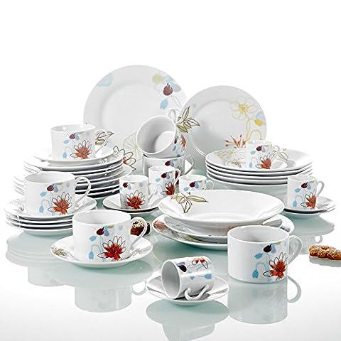 Tafelservice Porzellan, 42-teilig Kombiservice, Beinhaltet Kaffeetassen, Espressotassen, Untertassen, Dessertteller, Speiseteller und