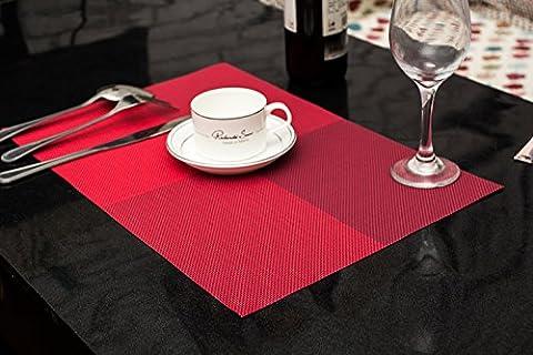 Set de table Plastifié Croix grille rouge PVC Placemats Dining Table Sets Clest F&H Résistant à la Chaleur (Set of 2