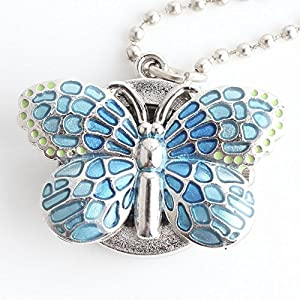 Ofgcfbvxd Dame Frauen Mädchen Kreative Blaue Schmetterling Kleine Vintage Taschenuhr Kinder Studenten Unisex Uhr Geschenk für Kleidung Kleid Kollokation