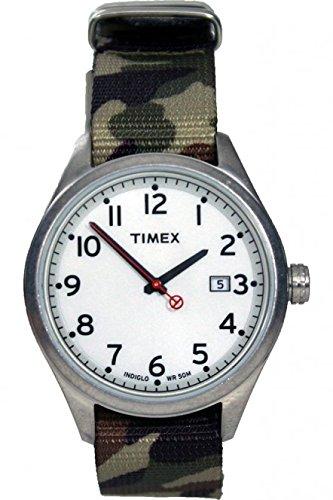 2f15b199ec80 Timex Originals T2 N222d – Unisex – Reloj analógico de cuarzo – blanco Dial  Beige Correa ...