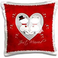 Red Marbled Just Married Siamese Kitty Cats Wedding Couple-Pillow Case, 16 by 16