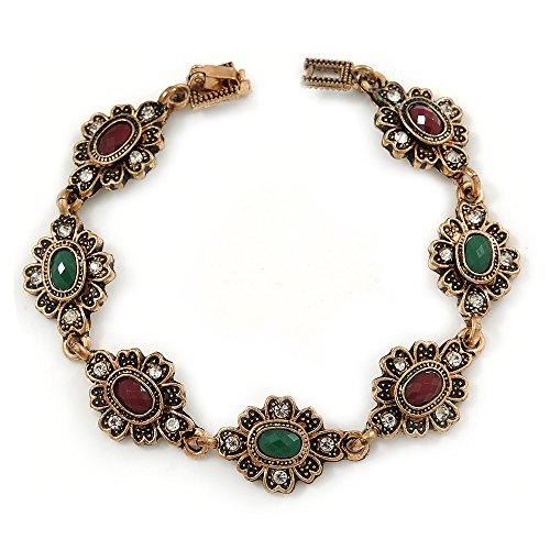 Vintage turco pulsera de estilo floral en tono bronce (verde/buey sangre)–17cm L