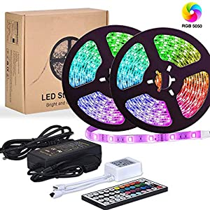 LED Streifen,Starlotus 10M 300 LED RGB LED Bänder, LED Strips IP65 Wasserdicht flexibles LED Lichtband mit 44 Tasten IR Fernbedienung 12V 5A Netzteil für Decke Bar Theke Schrank Beleuchtung