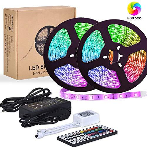 Beleuchtung Band (LED Streifen,Starlotus 10M 300 LED RGB LED Bänder, LED Strips IP65 Wasserdicht flexibles LED Lichtband mit 44 Tasten IR Fernbedienung 12V 5A Netzteil für Decke Bar Theke Schrank Beleuchtung)