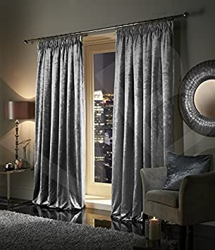 Pair Of Plush Crushed Velour Faux Velvet PENCIL PLEAT / TAPE TOP Curtains,  By VICEROY