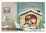 Daesar Vintage Duschvorhang aus Polyester-Stoff Weihnachtsmann Schneemann Antischimmel 3D Duschvorhang 120x180CM
