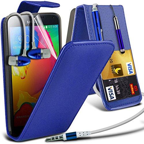 Samsung Galaxy S5 Neo hülle Tasche (Grün + Kopfhörer) Slim-Fit-Abdeckung für Samsung-Galaxie-S5 Neo-hülle Tasche Haltbarer S Linie Wellen-Gel-Kasten-Haut-Abdeckung + mit Aluminium Earbud Kopfhörer, Po Leather Flip + Earphone ( Blue )