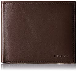 Tommy Hilfiger Mens Donny Genuine Leather Double Billfold Passcase Wallet, Brown, One Size