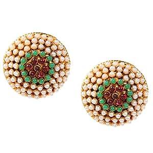 Adiva Indian Traditional Purple Green Metal Alloy Studs Earrings for Women
