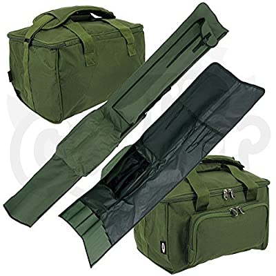 NGT Carp Fishing Quick Fish 3 Rod Holdall for 12 Foot Rods and Tackle Carryall Bag Set by DNA