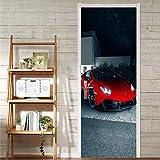 CCNIU 3D Porte Autocollant, DIY Rouge Voiture De Sport Autocollant Mural PVC Imperméable Auto-Adhésif Amovible Mural Verre en Bois Porte Mur Rénovation Salle De Bains Domicile Décoration, 77 * 200CM...