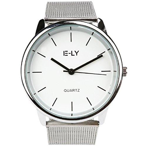 Herren Uhren, OverDose Beliebte Männer-Metal Mesh Band runden Zifferblatt Quarz Analog Armbanduhren (Weiß)