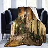Papalikz Ultra-Soft Micro Fleece Soft And Warm Throw Blanket,Cityscape Courtyard Night View with Street Cafe Chairs Plants in Flowerpots Rome Print,80' 60', Printed Green Brown