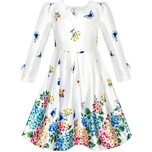 Mädchen Kleid Satin Schmetterling Hortensie Blume Gedruckt Gr. 116 (Voller Hortensie Größe In)