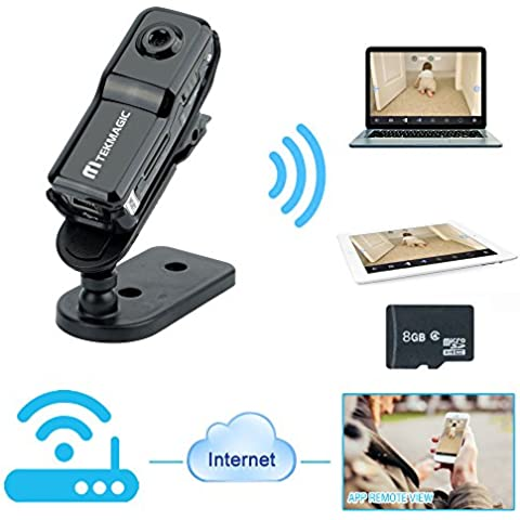 TEKMAGIC Cámara de WIFI Inalámbrica 8GB Portátil Mini DV Grabador de Vídeo para el iPhone iPad Android APP Vista