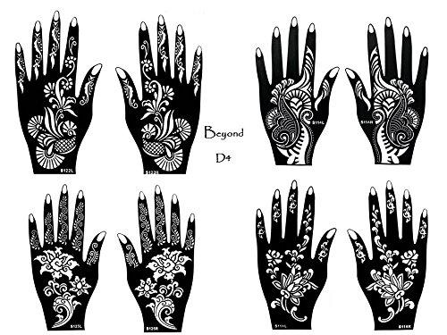 8 fogli Mehndi Tattoo Stencil mano Mehndi