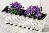Koll Living Garden - Fioriera da Balcone, in polyrattan, 50 x 18 x 18 cm, Colore: Bianco