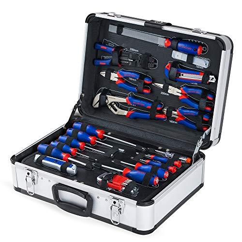 WORKPRO Boite à Outils Kit d'outils Professionnel avec Mallette en Aluminium pour Réparation Dommestique ou de Travail 119 Pièces