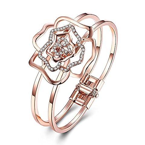 Bodya Femme Mode ton or rose CZ Cristal Blooming Fleur double couche Bracelet Bracelets Manchette poignet à la main.