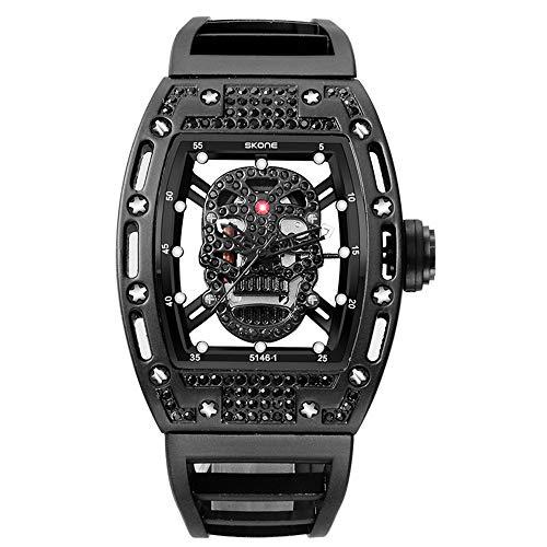 Wine Watches Sports Cwypb Male Skull Barrel Length244mm Waterproof Luminous Head Diamond black Silicone Bracelet rdtshQ