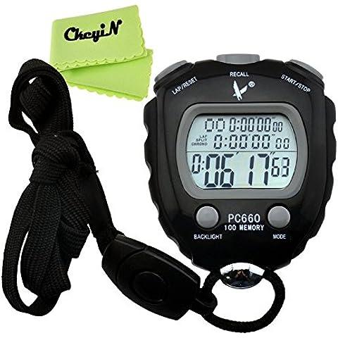 Ckeyin ® Cronometro per Sport, 100 Memorie, Display a 3 Righe, Display Elettro-luminescenti