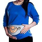 Schwangerschaftsshirt Baby Lustig Langarm Sweatshirt Umstandsshirt Trachten Shirt für Schwangere Schwangerschaft Bluse Blau/M