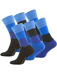 Vincent Creation Lot de 6 paires de chaussettes classiques - chaussette Business - sans élastique - homme