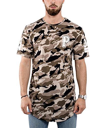 Phoenix Allstar Oversize T-Shirt Herren Longshirt Mit 09 Print Longline Tee Langes Shirt Camo Desert Camouflage - XL (Herren Desert T-shirt Camo)